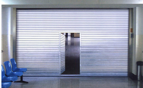Steel fire shutter door with swing door